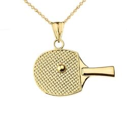 Solid Gold Table Tennis Racket Pendant Necklace Yellow White Rose