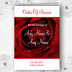 Deep Red Wet Rose Personalised Wedding Double Sided Cover Order Of Service
