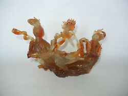 Vintage Chinese Carved Agate Statue Of Two Dancing Lady Figures