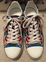 Valentino Garavani Beaded Red White And Blue Native Sneakers Shoes Italy 40 3k