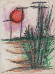 Jeanette Welty Chelf Drawing Abstract Impressionism Texas Telephone Line Usa