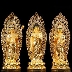 34'' pure bronze red copper gold set Three west Saints Sakyamuni Avalokitesvara