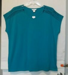 Cj Banks Size 3x Turquoise Strappy Shoulder Knit Top Cap Sleeve Nwt