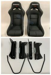 BRIDE VIOS III 3 Low Max Black Pair Bucket Racing Seats W LONG Side Mounts JDM $599.99