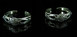 925 Solid Sterling Silver Beautiful Handmade Pair Of Oxidized Toe Rings - 1245