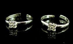 925 Solid Sterling Silver Beautiful Handmade Pair Of Toe Rings With Cz - 1503