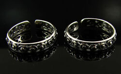 925 Solid Sterling Silver Handmade Oxidized Pair Of Girl Toe Rings - 1628