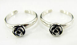 925 Solid Sterling Silver Handmade Oxidized Pair Of Girl Toe Rings - 1631