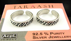 925 Solid Sterling Silver Handmade Oxidized Pair Of Girl Toe Rings - 1630