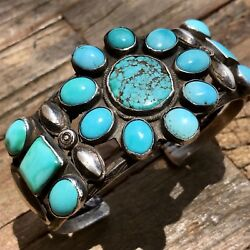 1930s Pawn Navajo Native American Square Number 8 Turquoise Silver Cuff Bracelet