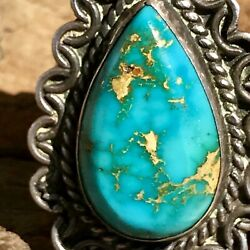 1940s Royston Blue Gem Neon Old Pawn Navajo Native Vibrant Turquoise Silver Ring