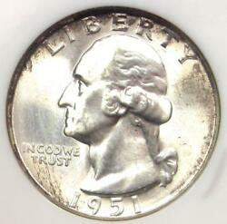 1951-d Washington Quarter 25c - Certified Ngc Ms67 - Rare In Ms67 - 1100 Value