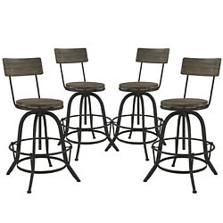 4pc Industrial Country Farm House Rustic Style Bar Stool Chair, Metal Wood, 4640