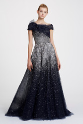 NWT Designer Off Shoulder Crystal Ombre Tulle Ball Gown