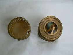 French Jewelry Boxes Antique Gilded Metal Around 1890