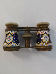 Beautiful French Gilt Metal Enameled And Jeweled Opera Glasses. 19th Century.