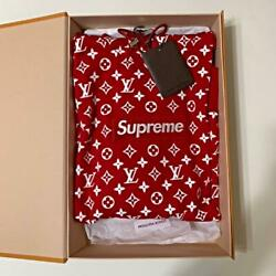 Supreme Louis Vuitton LV Box Logo Parker Hoody Red White S Size Auth