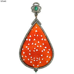 18k Gold 74.1ct Carved Agate Emerald Diamond Pendant 925 Sterling Silver Jewelry