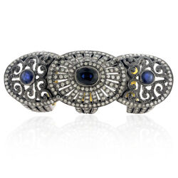 3.3 Ct Sapphire Diamond 18 K Gold 925 Sterling Silver Armor Knuckle Ring Jewelry