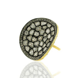 14kt Gold 3.05ct Rose Cut Diamond .925 Sterling Silver Ring Vintage Look Jewelry