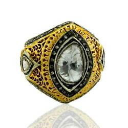 14kt Solid Yellow Gold 2.16ct Rose Cut Diamond Ring 925 Sterling Silver Jewelry