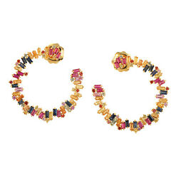 18k Yellow Gold 5.47ct Multi Sapphire Baguette Hoop Stud Earrings For Womenand039s
