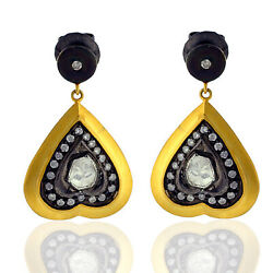 Indian Ethnic Look Dangle Earring 1.2ct Diamond Gold 925 Sterling Silver Jewelry
