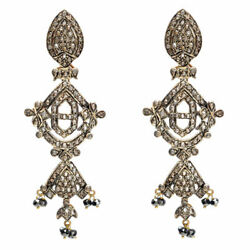 14kt Gold 6.97ct Pave Diamond Dangle Earrings 925 Sterling Silver Jewelry