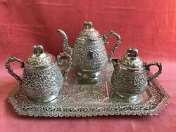 Antique Indian Silver Tea Set And Tray. Kutch Silver. 1890. 1282 Gms.