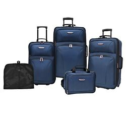 Travelerand039s Choice Ultimate 5-piece Navy Expandable Luggage Tote Garment Bag Set