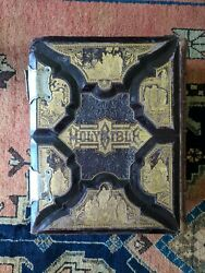 Antique Victorian Parallel Holy Bible, Heavily Illustrated Gustave Dore, 1886