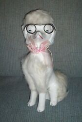 Vintage French Furry White Poodle With Black Glasses Made In Japan