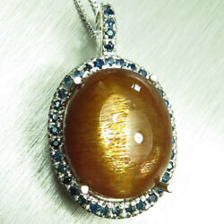 12.6cts Natural Sunstone Cats Eye Golden 9ct 14k 18k Yellow White Gold Pendant