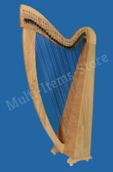 Hb Beautiful 34 Strings Lever Harp With Free Bag Antique Christmas Gift