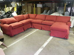 Pottery Barn Pb Basic Sofa Sectional Slipcover In Sierra Red Canvas Only No Sofa