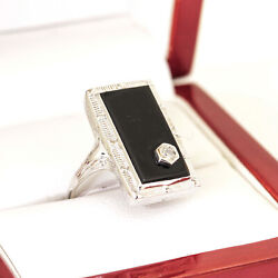 Vintage 18ct Natural Onyx And Diamond Plaque Mourning Ring, Art Deco Onyx Ring