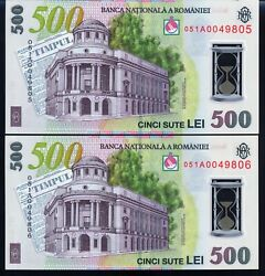 Romania-500 Lei 2005 Unc-polymer-2 Consecutive Serial Numbers-1a - Very Rare