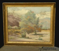 Antique Oil On Board With Tree And Mountain Scene By Jill Ostrander