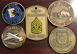 Lot Of 5 Military Challenge Coins Marines And Air Force Mc5
