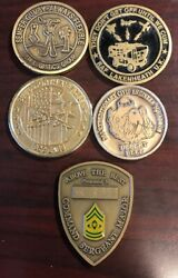 Lot Of 5 Military Challenge Coins Marines, Air Force, And Engineers Mc6