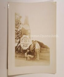 Frontenac Ale Vintage Photograph Giant Beer Bottle Advertisement W/ 3 Guys And Dog