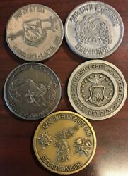 Lot Of 5 Military Challenge Coins Air Force, Intelligence, And Rotc Mc7