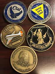 Lot Of 5 Military Challenge Coins Air Force, Air Force Nat. Guard Mc8