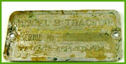 John Deere Unstyled B Serial Number Tag S/n 28869 St Louis Mo Branch Archive