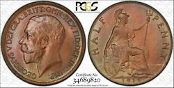 1913 Great Britain Half Penny Pcgs Ms65rb S-4056 Variety Highest Grade Worldwide