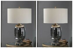 Two Caswell Modern Industrial Inspired Cast Iron And Glass Accent Table Lamps