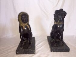 Antique Pair Bronze Frence Boxers Bookends With Marble Base