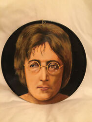 Collectible Beatles John Lennon Hand Painted 33 Vinyl Record Signed By Artist