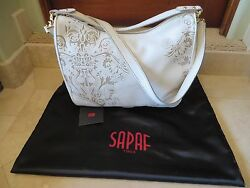 New SAPAF Authentic Handcrafted Designer Handbag Italy Hobo White w Tan Tooling