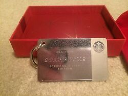 2014 Limited Edition Sterling Silver Starbucks Card - Gift Box And Velvet Pouch